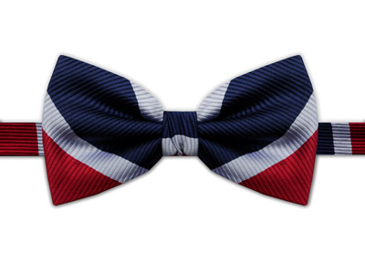 NAVY, RED & WHITE STRIPE BOW TIE-0