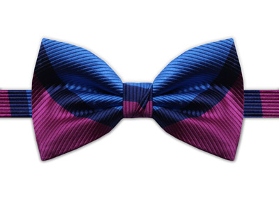 PINK, NAVY & BLUE STRIPE BOW TIE-0