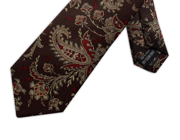 BROWN, BEIGE & RED PAISLEY TIE-0
