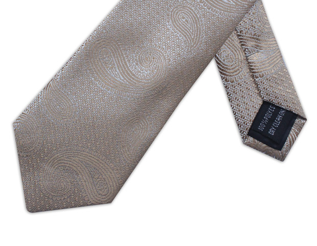 BEIGE PAISLEY WOVEN POLY TIE