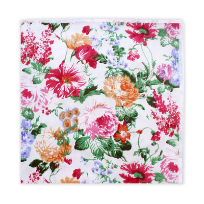 WHITE, PINK & ORANGE FLORAL SQUARE-0