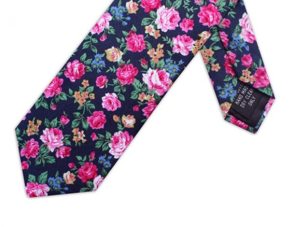 BLACK & PINK SMALL FLORAL TIE-0