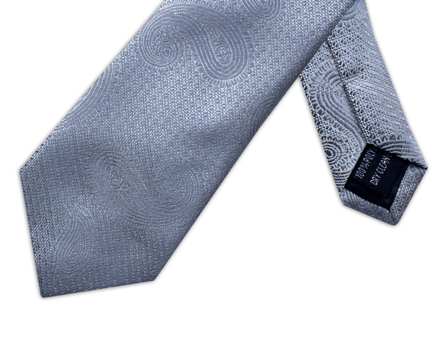 SILVER PAISLEY WOVEN POLY TIE