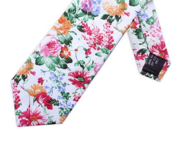 WHITE, PINK & ORANGE FLORAL TIE-0