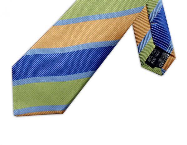 YELLOW, BLUE & GREEN DIAGONAL STRIPE TIE-0