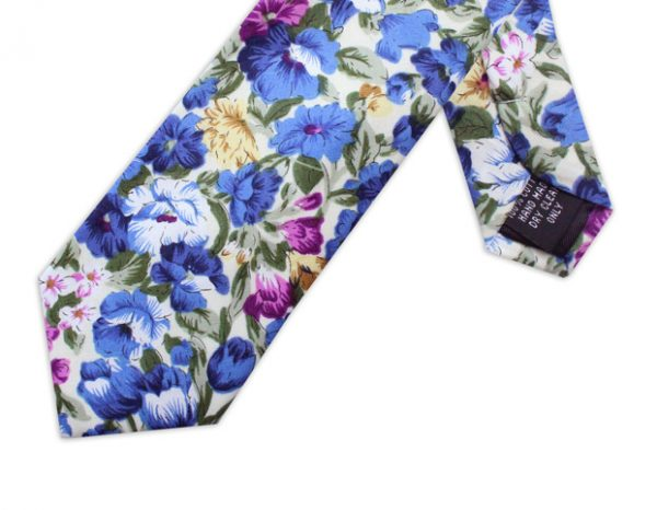 WHITE, BLUE & PURPLE FLORAL TIE-0
