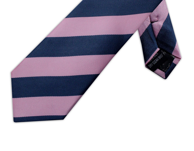 PINK & NAVY DIAGONAL STRIPE TIE