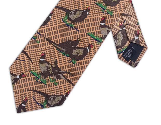 LARGE PHEASANT BROWN CHECKED TIE